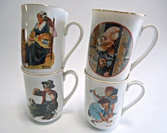 4 Norman Rockwell Mugs Vintage Cups 1980's