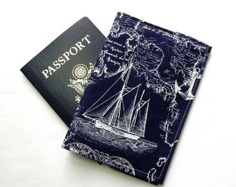 Passport Cover - Nautical Map - Boat, compass, anchor on Navy Blue fabric - Passport Holder