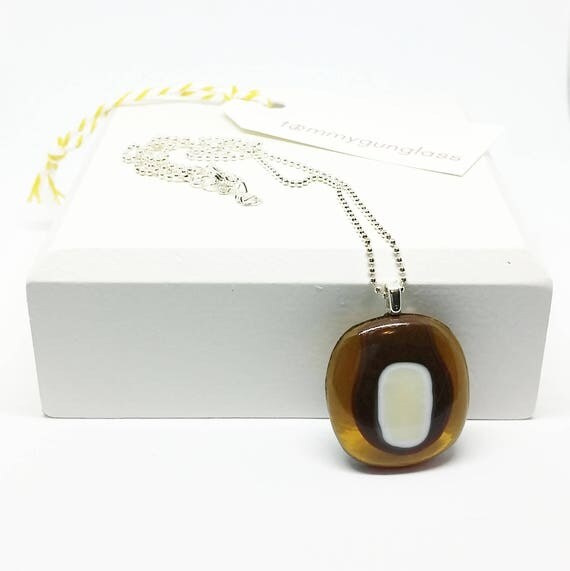 Brown and Ivory Abstract Line Glass Pendant with Silver Chain