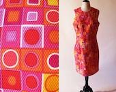 1/2 Off SALE Vintage Cotton Dress, 1980s Sleeveless Graphic Print Dress, Red Summer Dress
