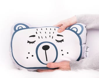 Softie Cushion - Plush Bear - Blue and White - Kids throw pillow - Sleepy eyes - Sleepy bear - Kids rooms - Nursery decor Kids bedroom decor