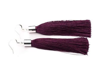 Dark plum purple silk tassel earrings in Silver or Gold - 'Shimmy' - statement earrings - statement jewellery - statement jewelry