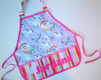 Rainbows and unicorns pretend personalized name play apron smock for toys, cooking tools, art supplies -  children 12 months to 6