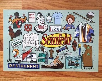 Seinfeld Tattoo Flash Sheet Print