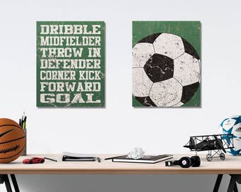 Soccer Vintage Weathered Wall Art Canvas Prints