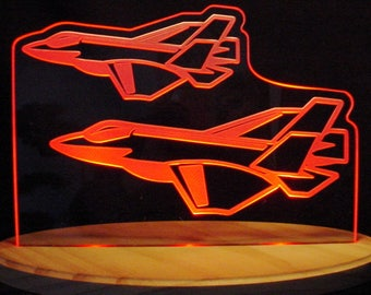 "Jet Airplane Plane Acrylic Edge Lit Lighted 13"" Led Sign Made in the USA"
