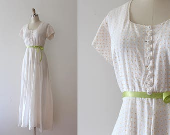 vintage 1940s gown // 40s sheer white and yellow maxi dress