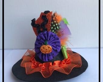 Mini Witch Hat, Baby Witch Hat, Halloween Costume Hat, Infants witch hat, Costume Hat, Toddler Witch Hat-Orange trim -Ostrich Feathers
