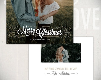 Christmas Card Template: Joyful C - 5x7 Holiday Card Template for Photographers
