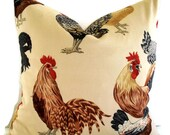 Rooster Pillow Cover, Chicken Pillow Hen Pillow Farmhouse Pillow French Country Decor P Kaufmann Pillow Cover 0