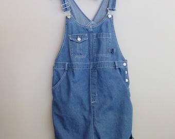 vintage denim Jean dungarees Maternity Bib shortalls Motherhood overalls M