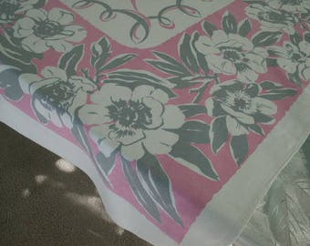 "Vintage 1950's Mid Century Floral Tablecloth Pink and Grey Floral Print with a Pink Ribbon Center 50"" x 50"""