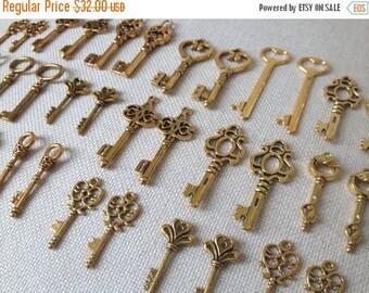 ON SALE Keys to the Kingdom 76 Gold Skeleton Keys Wedding Skeleton Key Set Key Pendant Set Gold Wedding Favors Scrapbooking Key Set Key Char