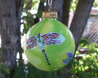 Hand painted ornament, personalized, lime green yellow dragonfly 379