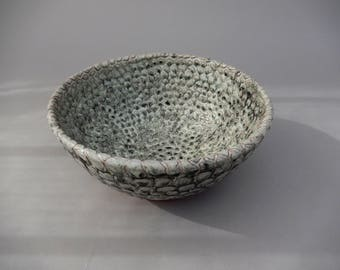 Pottery Bowl - Unique Decorative Bowl - Handmade  Charcoal Gray - Textured Carved Bowl