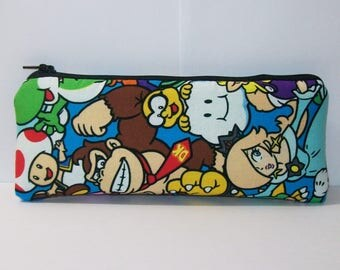 """Pipe Pouch, Nintendo Characters, Pipe Bag, Padded Pipe Pouch, Zipper Pouch, Glass Pipe Case, Nerd Gift, Gamer Gift, Smoke Bag - 7.5"""" LARGE"""