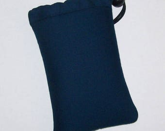 """Pipe Pouch, Navy Blue Pipe Case, Pipe Bag, Glass Pipes, Pipe Cozy, Padded Pipe Pouch, 420, Weed, Cannabis, Smoke Accessory - 5"""" DRAWSTRING"""