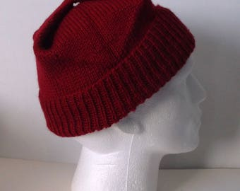 Adult men's / teenage boy's hand knitted square hat. Red