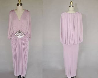 80s Tadashi dress | vintage avant garde pink dress | gathered and pleated knit gown | sequins