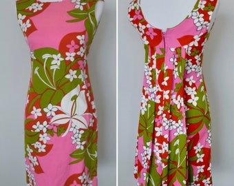 Vintage 1960s Hawaiian Tropical Print Shift Dress with Train/Vintage 60s Tiki Dress