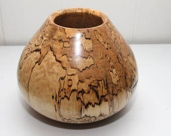 Spalted Maple Hollow Vessel - 9 1/2 inches wide x 8 inches tall