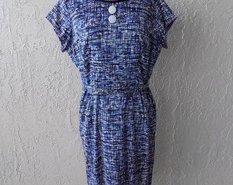 Vintage 1950's Jersey Print Dress