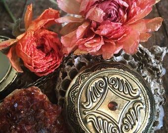 Perfume Locket Necklace ~ Amber Honey Solid Perfume ~ Garnet Brass Vintage Locket Antique ~ Gothic Victorian Witch