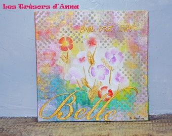 Painting acrylic painting 20 * 20 cm Flowery nature... Painting acrylic 20 * 20 cm floral Nature...