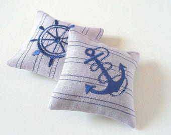 Handmade  Set of Two Sachets Lavender Sachets Lavender Pillow  Embroidered Linen Cushions Embroidered Scented Embroidered Decor NAUTICAL