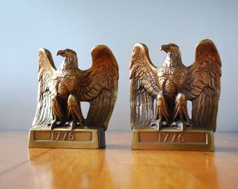 Pair of Metal Eagle Bookends - Philadelphia Metal Co. 114B - Colonial - Federal Style - 1776 - Military - Industrial - Liberty