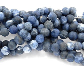 8mm Matte Sodalite Beads frosted sodalite   -14.75 inch strand