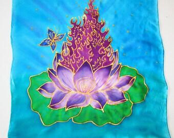 Violet flame  altar cloth, violet flame tarot cloth, lotus altar cloth , lotus tarot cloth, crystal grid, silk altar cloth, silk tarot cloth