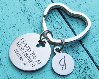 addiction recovery gift, inspirational keychain Bible verse encouragement gift for him, sobriety survivor keychain, scripture Romans 5:8