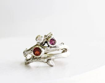 Diamond, Garnet and Rhodolite Garnet, 3 Stones Silver Twig Rings, Nature Engagement Ring Set