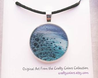 Mini Painting Pendant Original Abstract Art Wearable Art Necklace 3377