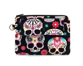 Skull Coin Purse - Small Zipper Pouch - Keychain Wallet - Change Purse - Gift idea - Gift for her - Padded Pouch - Snap Pouch