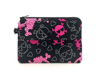Skull Zipper Pouch, Small Coin Purse, Snap Wallet, Accessory Bag, Notions Pouch, Padded Pouch, Gift for her, Gift idea