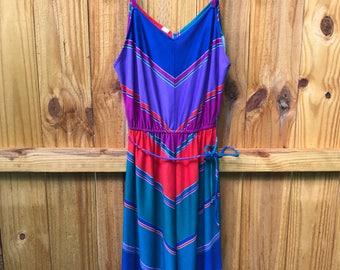 70s Retro Multicolor Striped Sundress / Vintage 80s Colorful Striped Sundress