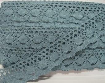 5 yards Sky Blue Cotton Lace Trim 3.8 cm-Wide, Crochet lace trim, Blue lace Trim, Wide Lace, Cotton Trim, blue lace, blue trim, blue