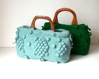 Crochet Bag // Valentine gift -Handmade Mint green  Knit Bag, Celebrity Style,Crochet winter  bag- shoulder bag- crochet bag