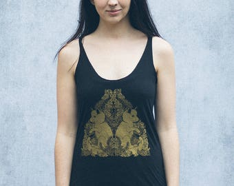 Gold Fox Pups Heather Black Racerback Women's Tank