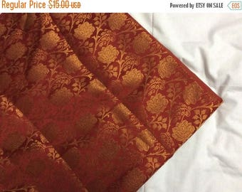 15% off on One yard of Indian brocade in red with  gold flowers and vines/benarasi brocade/Indian sari fabric/costume fabric/home accents fa
