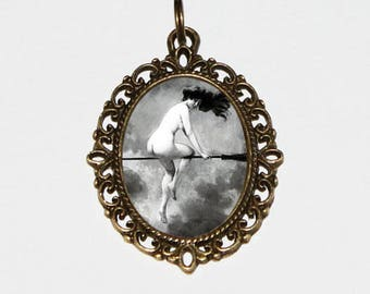 Witch Necklace, Halloween Jewelry, Wiccan, Naked, Nude Witch, Victorian, Witchcraft, Bronze Oval Pendant