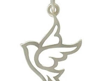 Peace Dove Charm -18mm, Sterling Silver