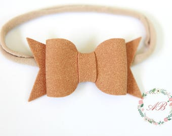 Tan Bow Headband - Suede Bow Headband - Baby Bow Headband - Nylon Headband - Tan Suede Bow Headband