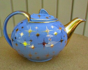 vintage 40s Hall teapot cadet blue star pattern 6 cup gold gilt  hook cover made in usa