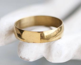 Brass Wedding Band Ring - Size 11