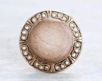 Round Scarf Clip - Marble and Filigree Collar Clip