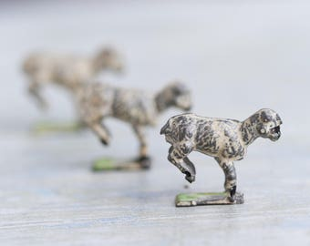 Lead Little Lamb - Set of 3 - Antique Iron Cast Sheep Toy - Miniature Farm