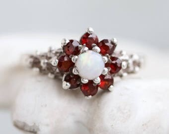Vintage Garnets Ring - White Opal Flower Ring - Sterling Silver Cocktail Engagement Ring - Size 7 - Made in England 1978